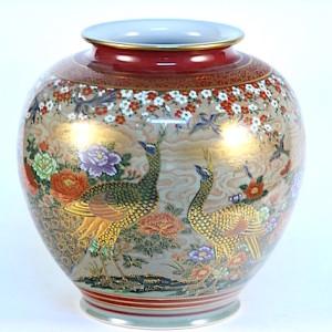 DSC_2548.jpg 九谷燒10號花瓶-牡丹孔雀 N646-7