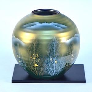 DSC_2562.jpg 九谷燒7號花瓶-金箔木立連山 N24-03