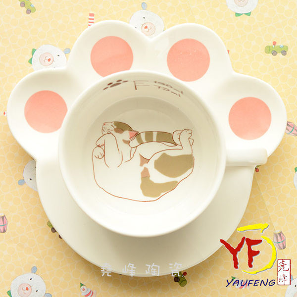精选 猫咪咖啡杯碟 动物造型咖啡杯碟 下午茶杯 花茶杯 马克杯
