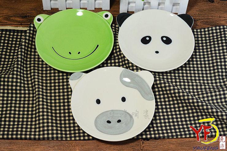 日本美浓烧 手工窑烧色釉动物造型 圆盘 浅碟 熊猫 青蛙 牛 交换礼物