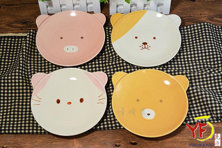 日本美浓烧 手工窑烧色釉动物造型 圆盘 浅碟 猫熊狗猪 交换礼物 赠品